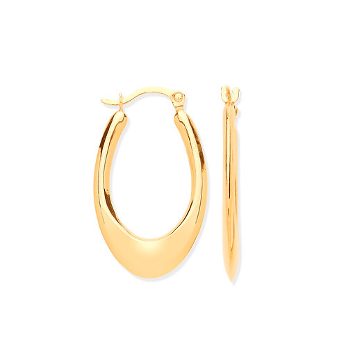 Yellow Gold Hollow Plain Tube Earrings