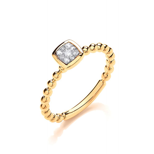 9ct Yellow Gold Beaded Square Shank Ring