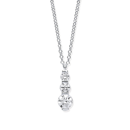 White Gold Graduated CZ Drop Pendant