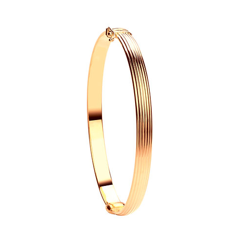 Yellow Gold Hollow Ribbed Women's Bangle