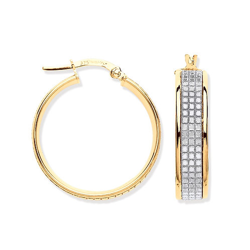 Yellow Gold Moondust Medium Hoop Earrings