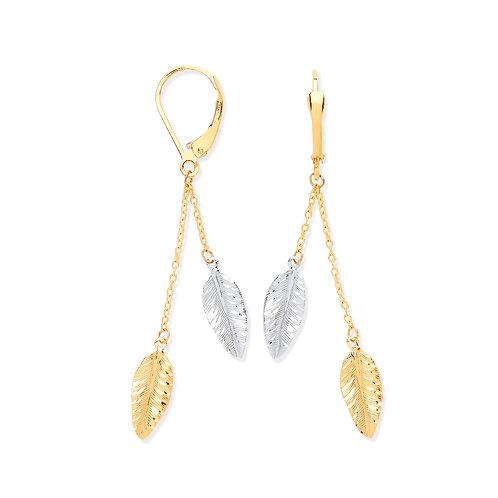 Yellow & White Gold Leaf Drop Earrings