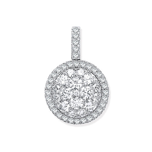 18ct White Gold Round Drop Pendant