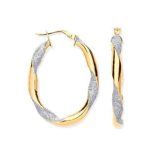 Yellow Gold Glitter Twisted Oval Hoop Earrings