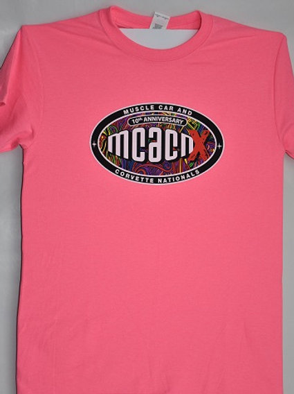 Crew Neck Tee Shirt Neon Pink 10th Anniversary on Reverse