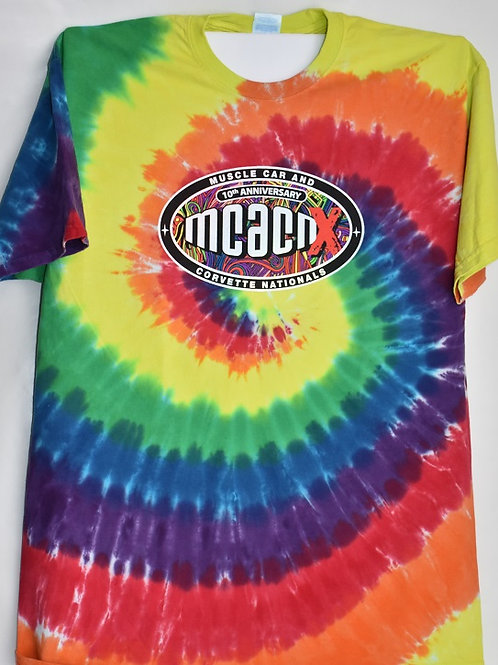 10th Anniversary Tie Dye Tee Shirt with RTS on Reverse Side