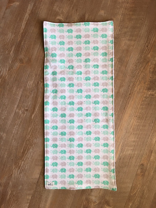 Burp Cloth - Mint and Grey Elephants