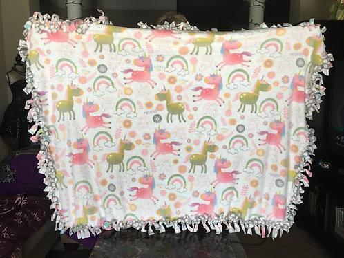 Unicorns and Rainbows Fleece Tie Blanket