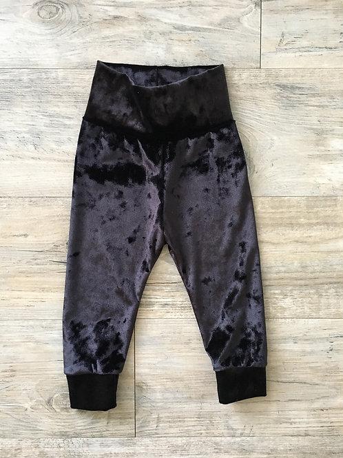 Black Velour Baby Joggers