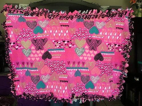 Pink Hearts Fleece Tie Blanket
