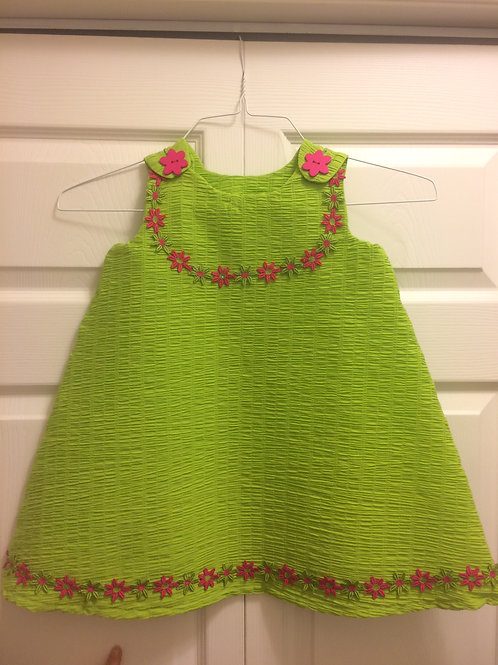 Girls Green Dress w/Flower Trim