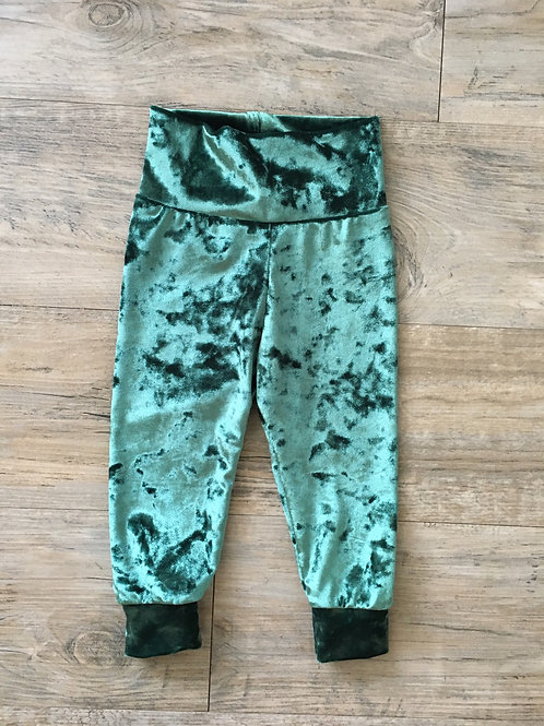 Green Velour Baby Joggers