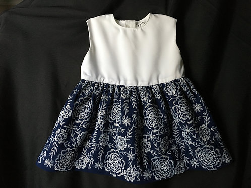 Blue and White Embroidered Baby Girl Dress
