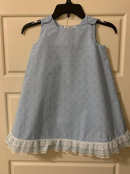 Girls Blue Snowflake Dress w/Lace Trim