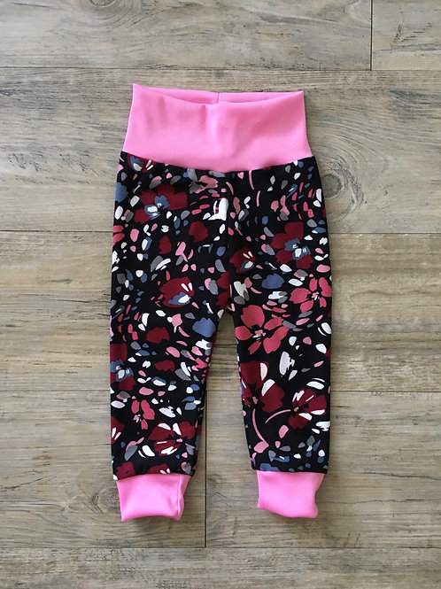 Burgundy Floral Baby Joggers