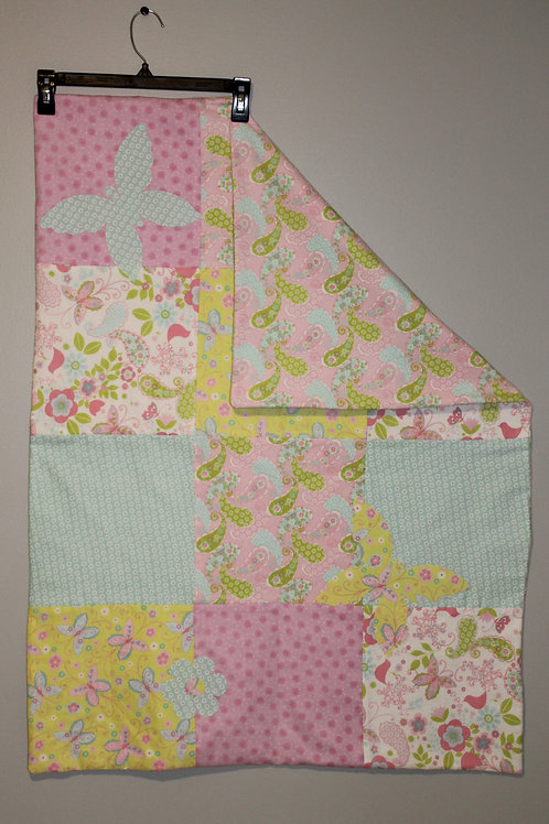 Pink Butterfly and Flowers Blanket