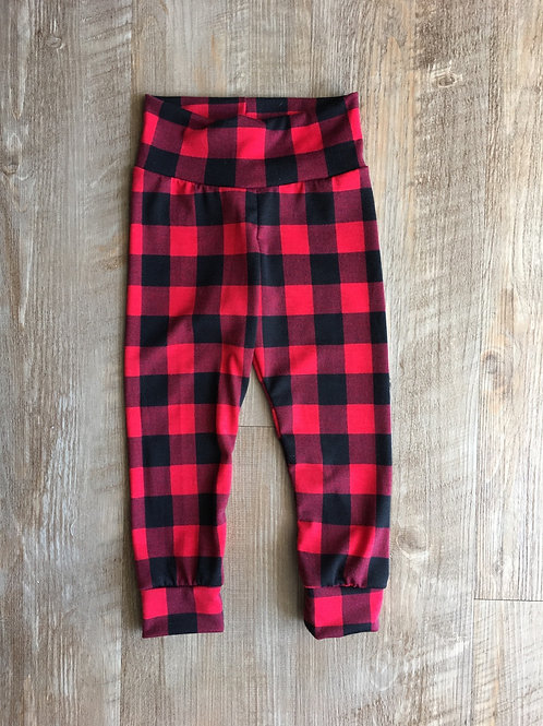 Red & Black Plaid Baby Joggers