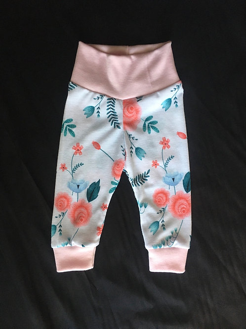 White w/Flowers Joggers