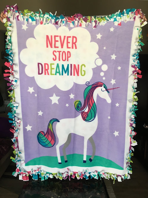 Unicorn Fleece Tie Blanket