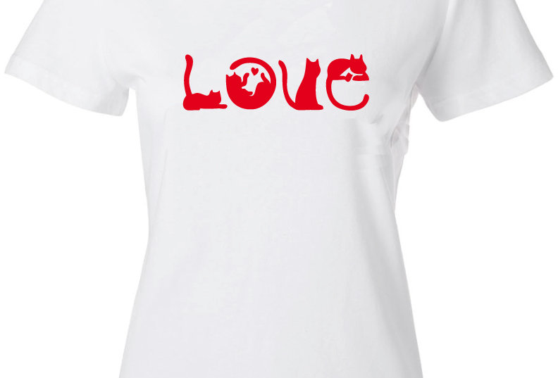 Playera Forester, M Cat Love Blanco