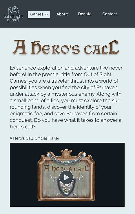 Out of Sight Games A Hero's Call Page