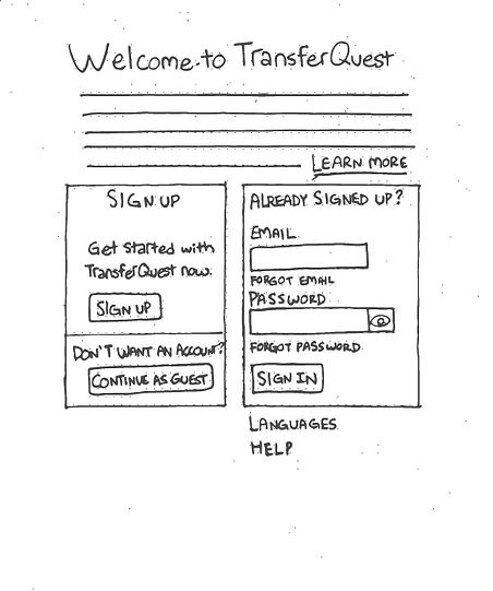 TransferQuest Wireframe 1