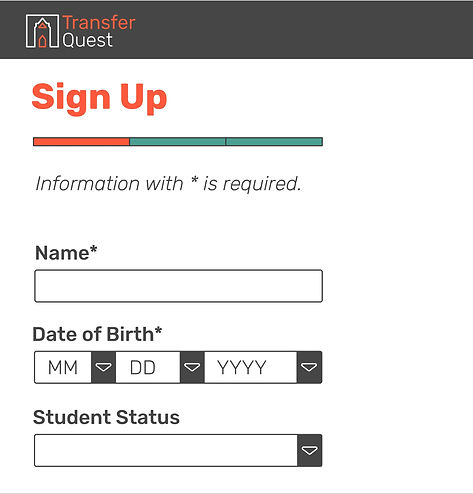 TransferQuest Sign Up Page