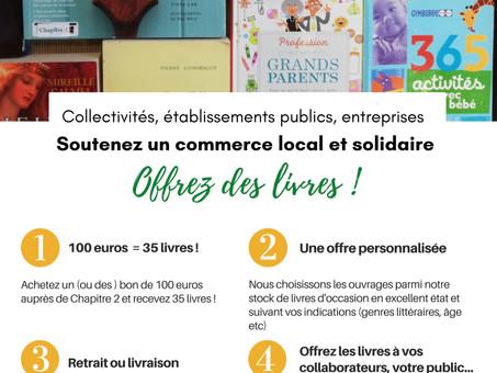 Vous êtes une structure ? Soutenez un commerce local et solidaire : offrez des livres !