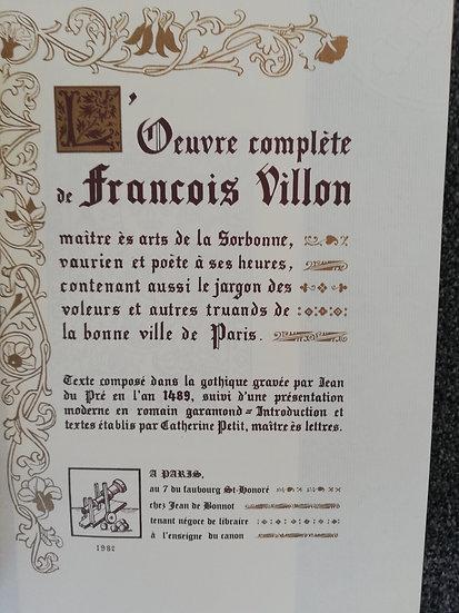 Villon François, Oeuvres complètes