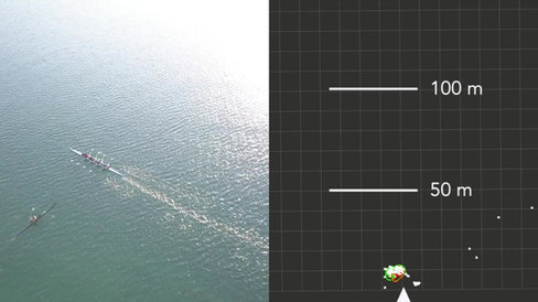 Danger - Side approach of rowing boat