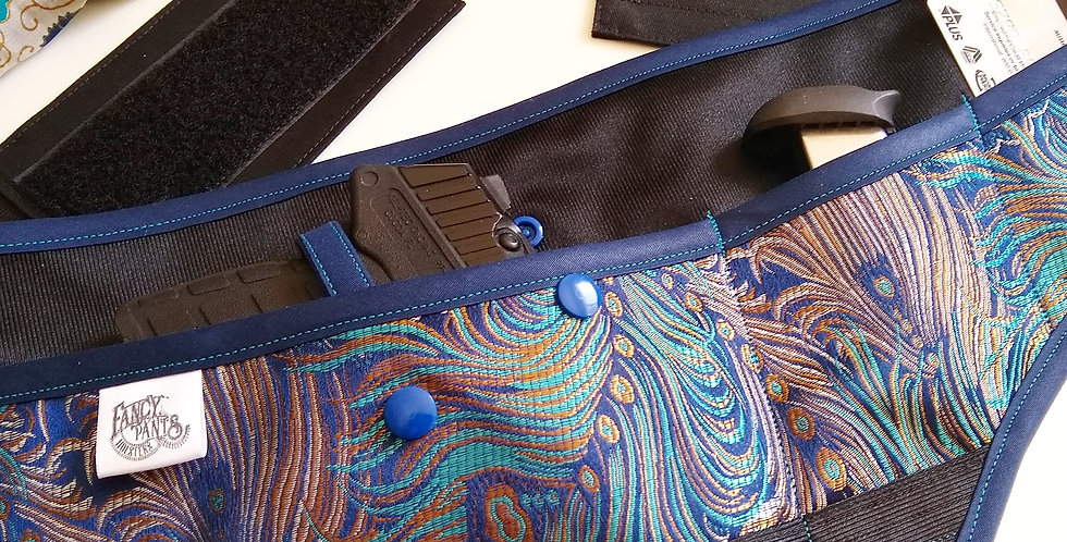 Women's Concealed Carry Waist Holster - Peacock Feathers