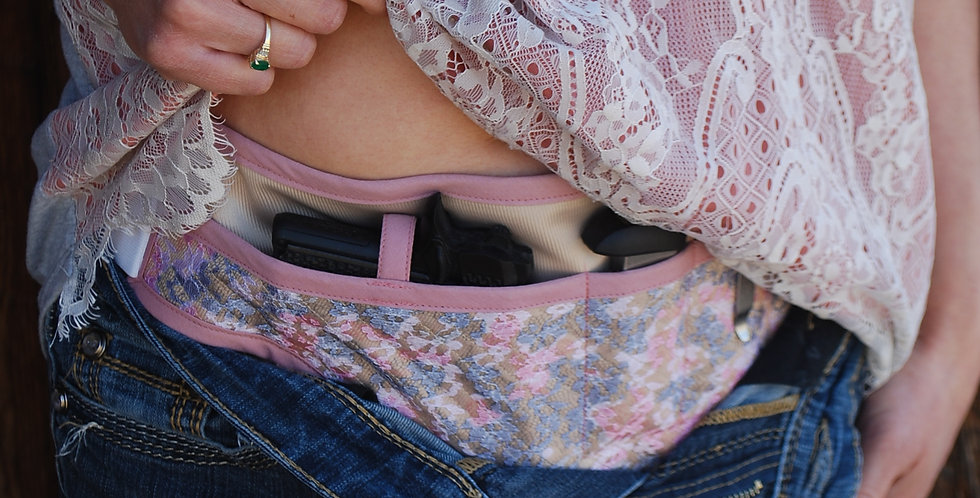Concealed Carry Waist Holster - Dusky Rose Lace