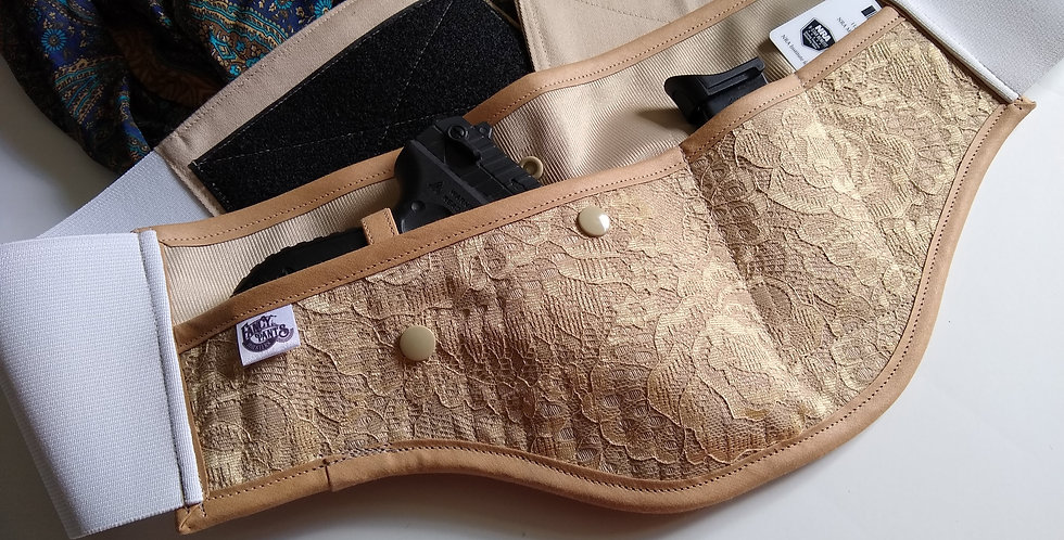 Concealed Carry Waist Holster - Gold Lace
