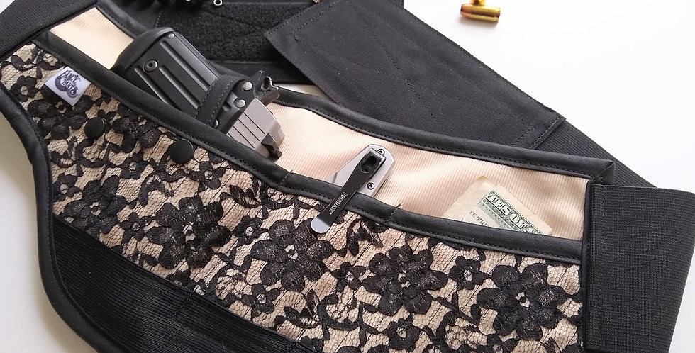 Concealed Carry Waist Holster - Black Lace