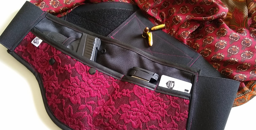 Concealed Carry Waist Holster - Burgundy Lace