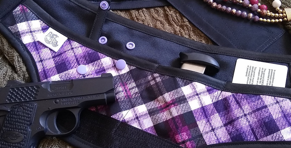 Concealed Carry Waist Holster - Purple Plaid