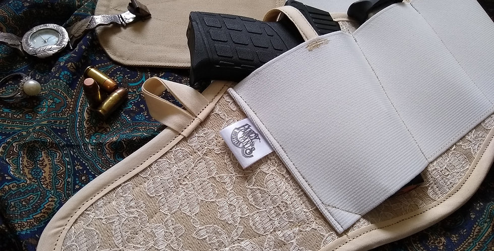 Concealed Carry Thigh Holster - Ivory Lace
