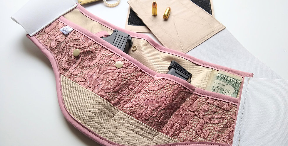 Concealed Carry Waist Holster - Blush Lace