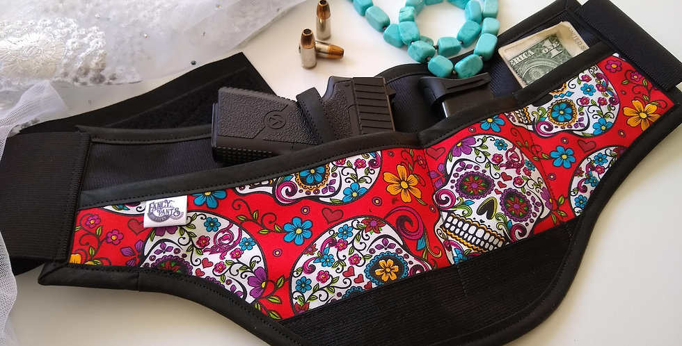 Concealed Carry Waist Holster - Red Sugar Skulls