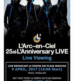Siaran Perayaan 25 tahun L'Arc-en-Ciel akan ditayangkan di bioskop Jepang dan seluruh dunia!