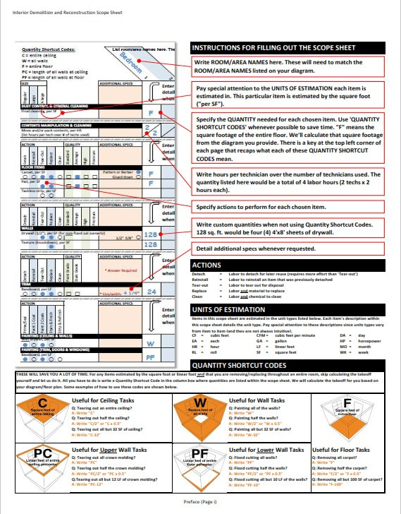 Scope Sheet for Demo and Reconstruction | ASL BPO