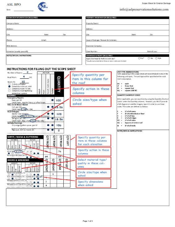 Interior Damage Scope Sheet | ASL BPO