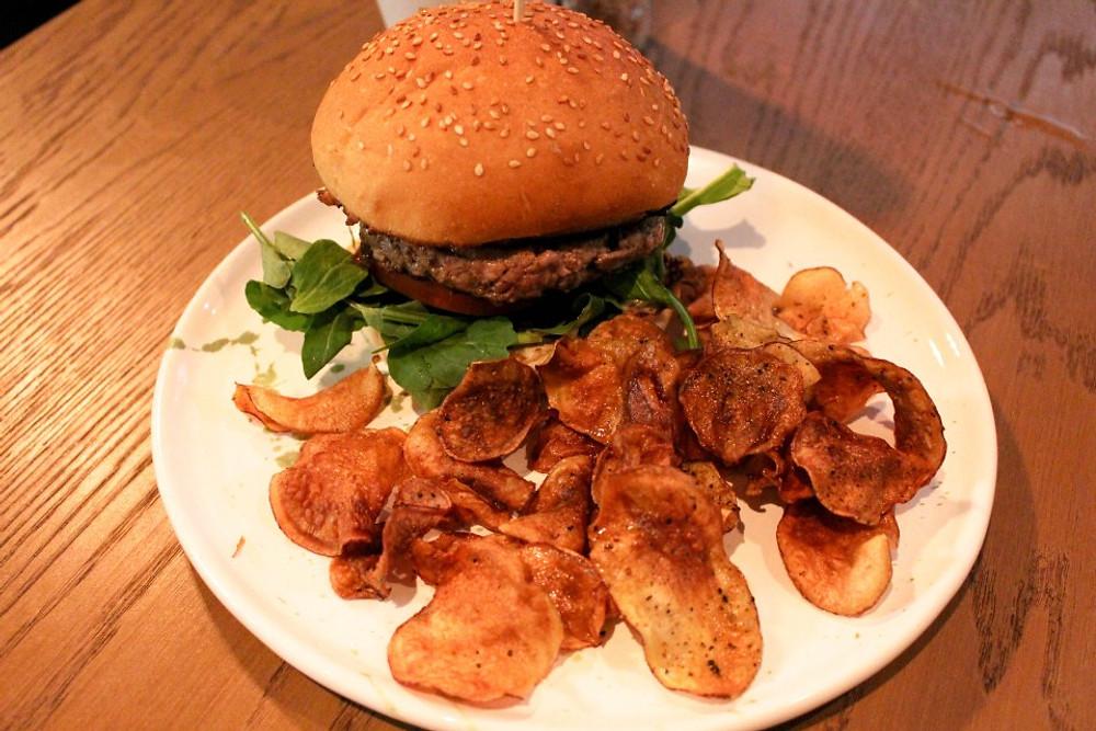 Lamb Burger with Sweet Potato Chips