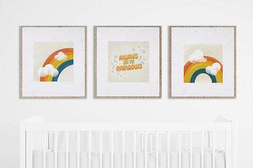 RD x Illustration Huiz | Rainbows Custom Prints | 20 x 20 | Set of Three