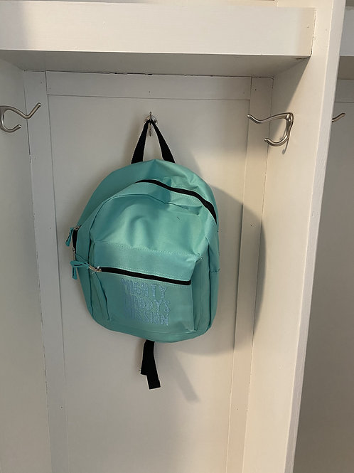 Childs Backpack - Sea Green with Blue Writing