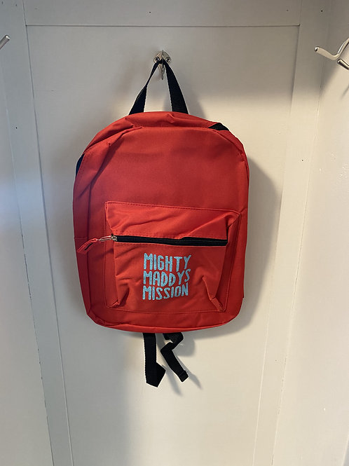 Childs Backpack - Red with Blue Writing