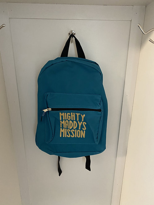 Childs Backpack - Turquoise with Gold Writing
