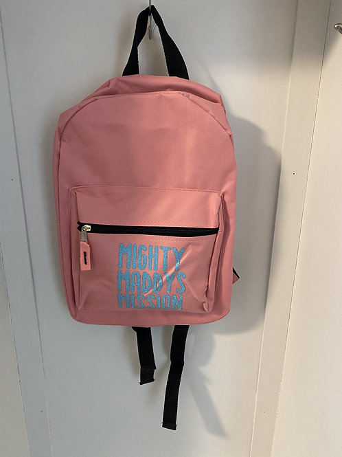 Childs Backpack - Light Pink with Blue Writing