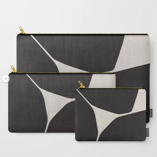 Black and white travel pouches