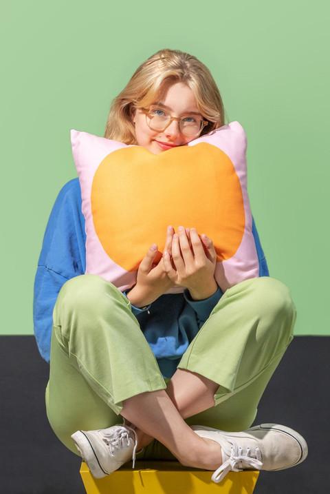 Petra Kaksonen Margo Orange and Pink Pillow
